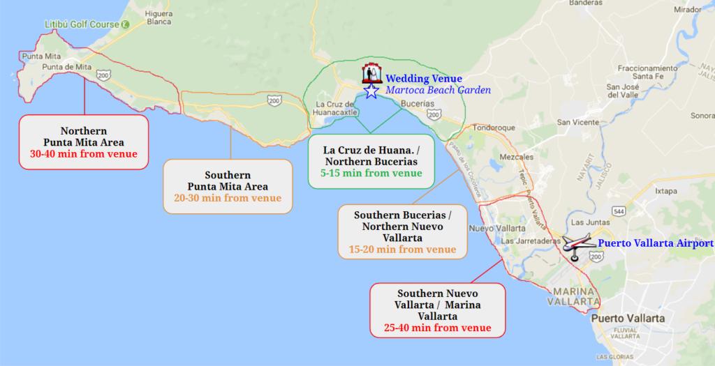 Punta Mita Puerto Vallarta Bucerias Map Driving distance Sayulita wedding venues